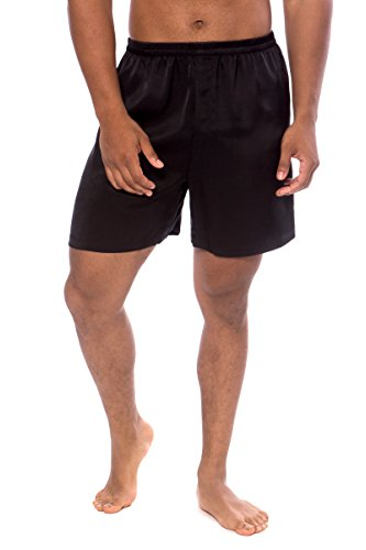 TexereSilk Men's 100% Silk Boxers (Country Club, Black, ()