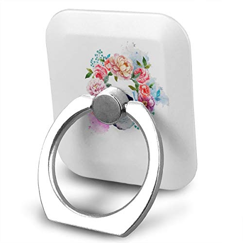 (Phone Ring Finger Holder, Square Cute Skeleton with Flowers Printed Universal Smartphone Holder Stand, Cell Phone Ring Finger Holder Grip Almost All Phones/Pad)