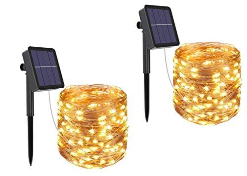 Solar Fairy Lights, Hitopin 2 stuks 12M 120 LED waterdichte koperdraad zonne-lichtketting, zonne-led tuin string lichten…