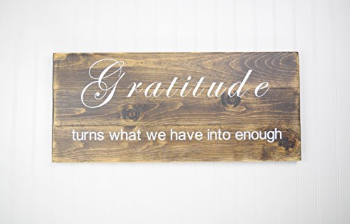 Wood Sign - Gratitude Wall Décor - Inspirational Quotes - Popular Wood (Country Life Black Walnut)