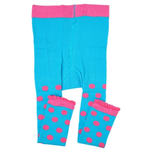 juDanzy footless tights for girls (Turquoise & Pink Polka Dot - Pink Tights Polka Dot