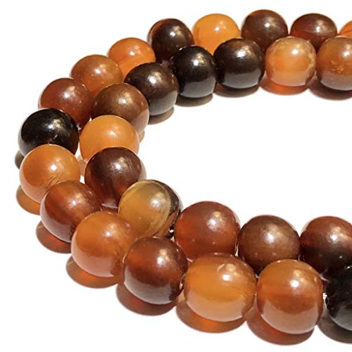 [ABCgems] Rare Carabao Buffalo Amber Horn AKA Golden Horn (Hand Carved from Beautiful Horn of Carabao) 7-8mm Off-Round Beads for Jewelry Making
