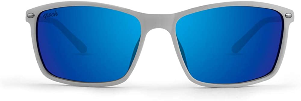 Epoch 11 Sport Fashion Motorcycle Riding Sunglasses White with Blue Mirror Polarized Lens