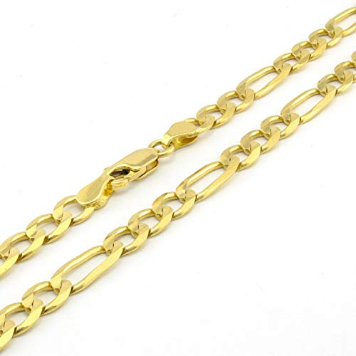 "Unisex 10K Yellow Gold Solid 6mm Figaro Link Chain Pendant Necklace 20""- 30"""