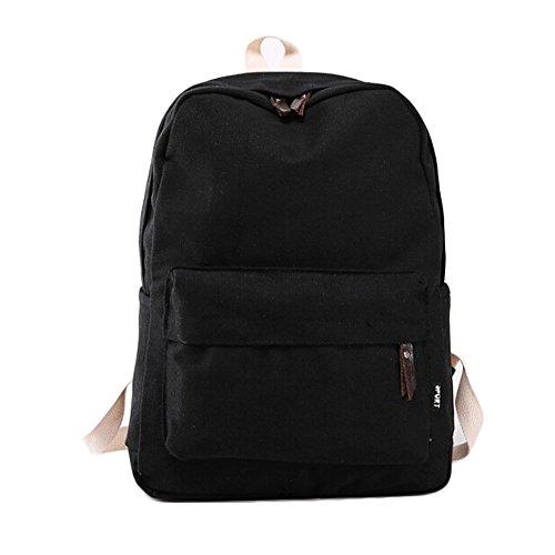 Rucksack Black Shoulder Travel Canvas Bag Girl Bag School Women Backpack xgFq6HwnY
