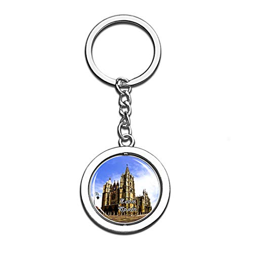 Leon Spain 3D Crystal Creative Keychain Spinning Round Stainless Steel Key Chain Ring Travel City Souvenir Collection]()