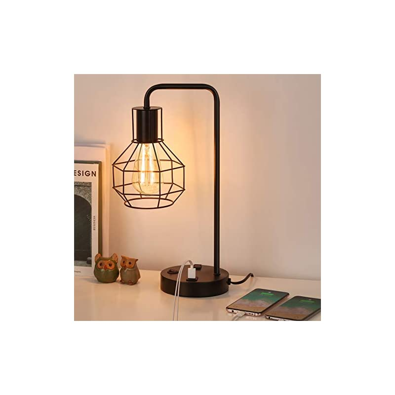 HAITRAL USB Modern Table Lamp with Outlet, Industrial Farmhouse Bedside Desk Lamp for Bedroom, Office, Living Room…