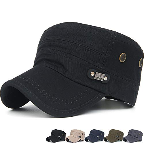 f9168fccacf Rayna Fashion Men Women Soft Washed Cotton Adjustable Flat Top Military  Army Hat Cadet Cap