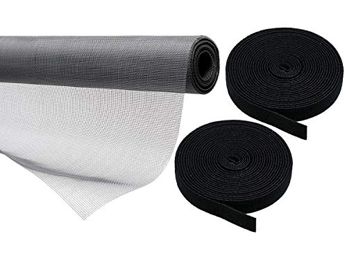 Lifestyle-You™ Heavy Quality 110 GSM PVC Coated Fibreglass Window Insect Mosquito Mesh Net with Hook & Loop Tape for Installation (Dark Grey) (150X150 cm)