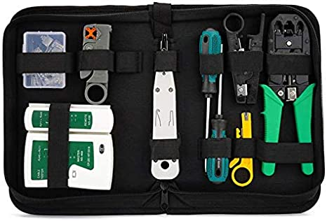 Juego de herramientas de red 12 en 1, herramientas profesionales de reparación de red con RJ45, Cat5 cable pelacables cortador pelacables y conector coaxial RJ45 para el hogar o bricolaje