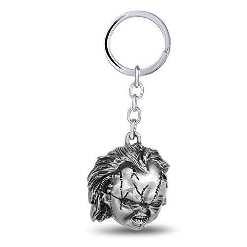 Mens car Key Chain Classic Flim Child's Play Bride of Chucky 3D Coslay Keychains 4cm Pendant Metal Keyring for Fans Children -
