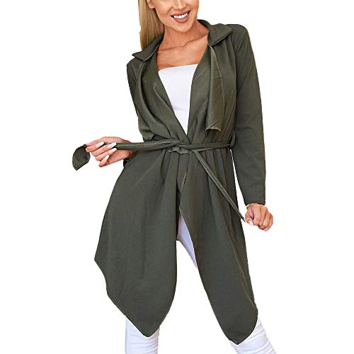 NUWFOR Women's Loose Solid Irregular Hem with Lapel Coat Trench Coat Cardigan Tops(Army Green,S) by NUWFOR (Image #6)