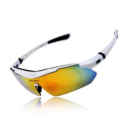 Wolfbike POLARIZE Sports Cycling Sunglasses with 5 Set Interchangeable Lenses White Frame