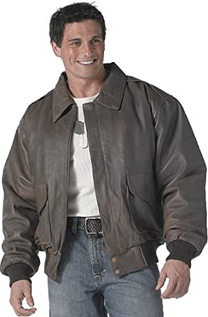 Amazon.com: Mens Jacket - A-2 Leather Flight Style, Brown by ...