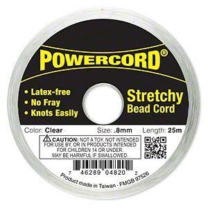 Powercord® Elastic Clear 0.8mm. 0.0314 inch 25-meter spool. by Power Cord