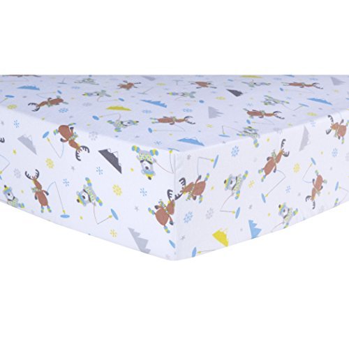 Bedding Crib Ice (Ln Beautiful White Brown Blue Gone Ice Fishing Flannel Fitted Crib Sheet, Animal Themed Nursery Bedding, Infant Child Toddler Nature Mountain Bear Moose Winter Snow Cute Adorable, Cotton)
