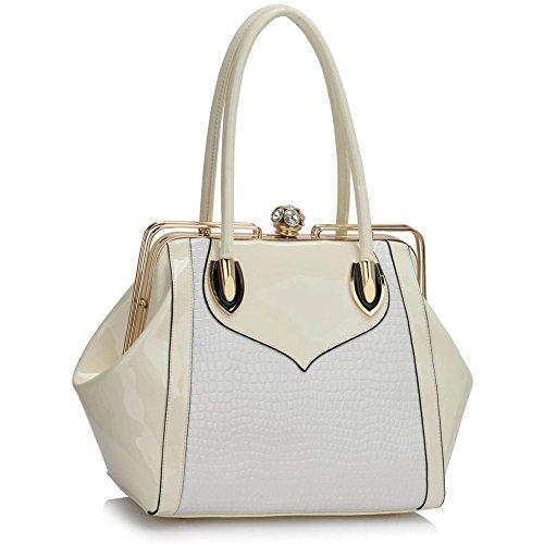 LeahWard® Damen Mittel / Große Größe Patent Schultertaschen Damen Berühmtheit Stil Tragetasche Handtaschen 241 Übermaß Taschen-Weiß/Cream (42x15x28.5cm) 7P5b4A