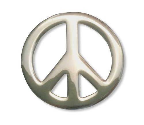 [Peace Sign Jacket or Hat Pin Polished Silver Finish Pewter] (Seventies Fashion Costumes)