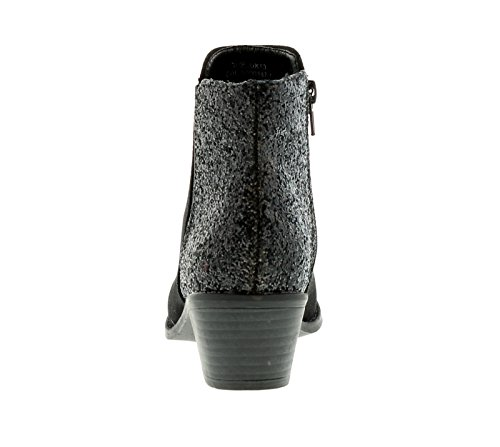 New Girls / Kinder schwarz Glitzer Mode Stiefel - schwarz - UK Größen 1-13
