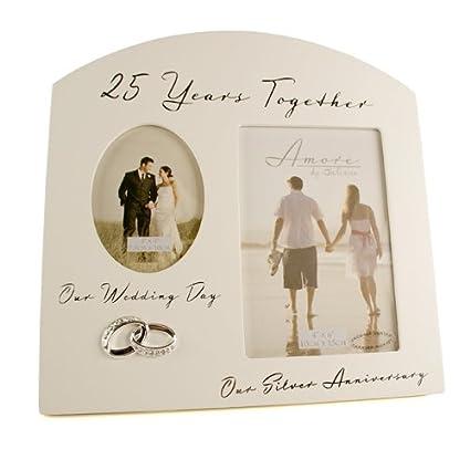 Cornice Ricordo Multi Foto Per 25 Anniversario Di Matrimonio Regalo Per Nozze D Argento Con Scritte In Inglese