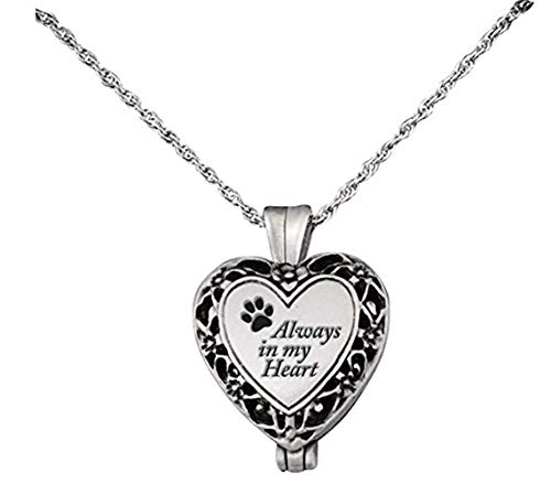 International Silver Spring Charm - Cathedral Art Pet Memorial Urn Locket-Heart Shaped-Silver Tone Filigree ...