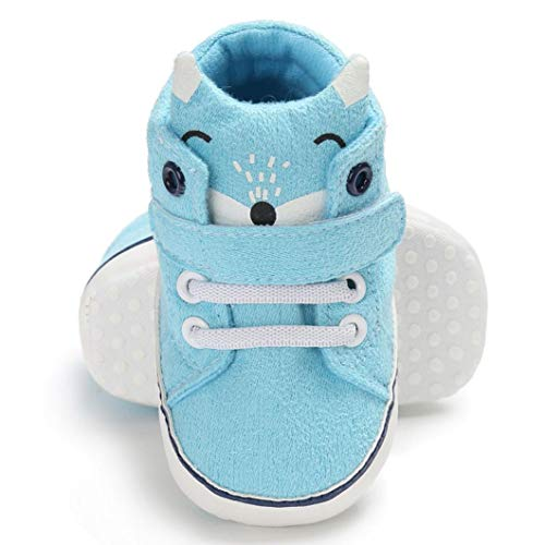 (100% Real Quality Cotton Baby Girl Boys Fox Hight Cut Shoes Anti-slip Infant Soft Sole Sneaker (Age:12~18 Month, Sky Blue))