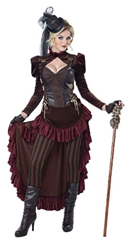 Fancy Victorian Era Gilded Brass Age Wild West Dress Steampunk Costume Adult Women (Wild Zebra Adult Womens Costume)