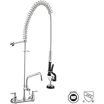 Aquaterior Double Handle Brass Backsplash Pre Rinse Commercial