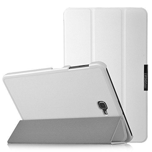IVSO® Ultra Schlank Ständer Slim Leder zubehör Schutzhülle mit Automatischem Schlaf Funktion für Samsung Galaxy Tab A 10.1 Zoll Wi-Fi/ LTE (2016) SM-T580N/SM-T585N Tablet-PC perfekt geeignet,Weiß
