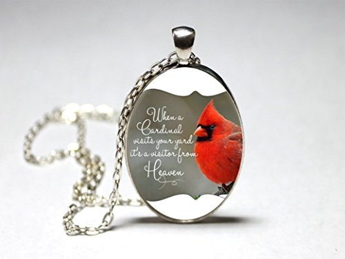 (Cardinal in Heaven Pendant Necklace Oval Glass,silver,bird,women,jewelry,gift,remembrance)