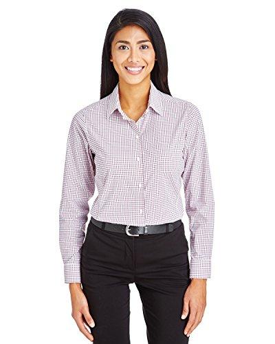 Devon & Jones Womens Crownlux Micro Windowpane Shirt, X-Large, Burgundy/White
