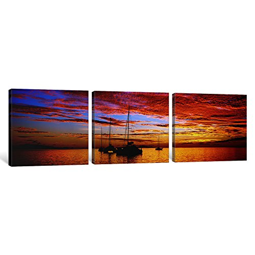 - iCanvasART 3-Piece Silhouette of Sailboats in The Ocean at Sunset, Tahiti, Society Islands, French Polynesia Canvas Print by Panoramic Images, 1.5 by 48 by 16-Inch