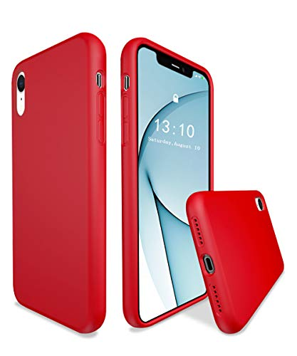 K TOMOTO Compatible with iPhone XR Case, Liquid Silicone Gel Rubber Full Body Thick Protective Bumper Cover with Microfiber Lining Cloth Shockproof Silk Phone Case for iPhone XR 6.1 Inch, Red