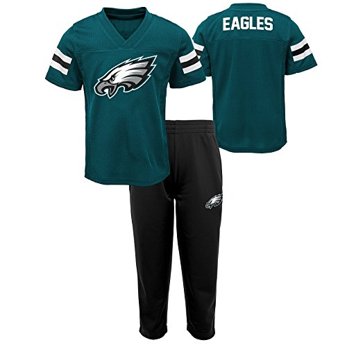 NFL by Outerstuff NFL Philadelphia Eagles Kids Training Camp Short Sleeve Top & Pant Set Jade, Kids (Nfl Camp Shirt)