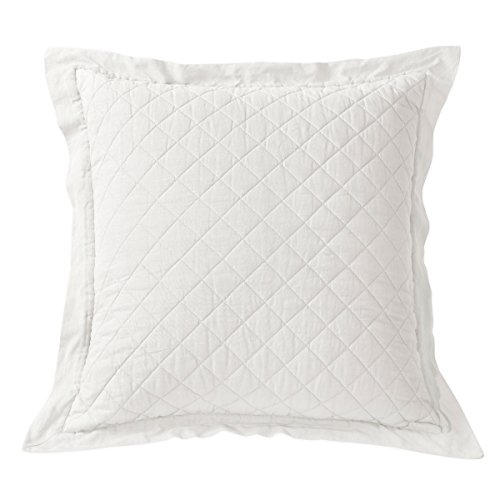 HiEnd Accents Diamond Pattern Linen Quilted Euro Sham, 26