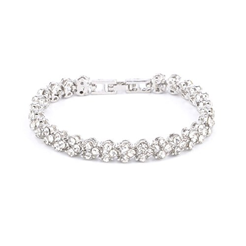 Tuccpai CZ Wedding Bridal Ball Fine Bangle - Petite size, perfect little wrist (silver)