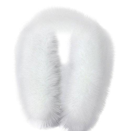 DDLBiz Fashion Women's Faux Fur Collar Scarf Shawl Wrap Stole Scarves (White)