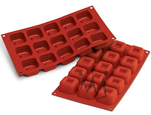 "Silikomart Professional SF081 Silicone Baking Mold Square Savarin 1.52 Oz Volume, 1.89"" x 1.89"" x 1.16"" High, 15 Cavities (1 Each)"