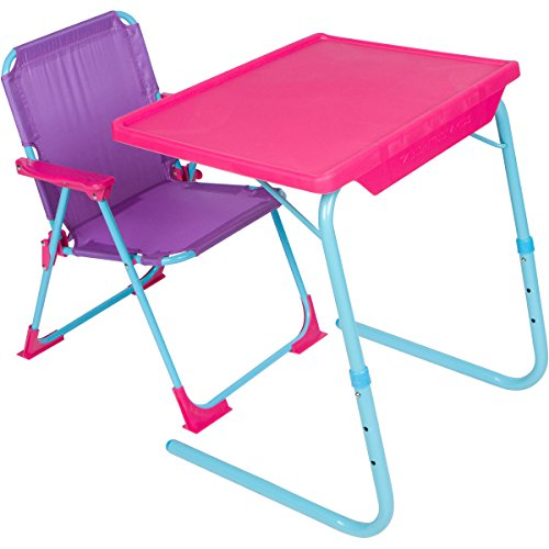Table-Mate 4 Kids Plastic Folding Table and Chair Set (Pink/Purple/Turquoise) -