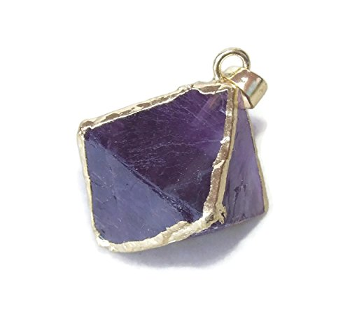 Fluorite Diamond Shaped Pendant - Fluorite Pendant - Gold Plated Edge - 30mm - 40mm