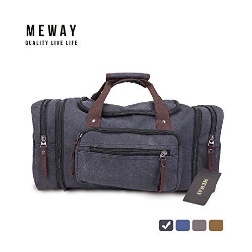 Oversized Canvas Leather Weekender Bag Travel Duffel Shoulder Handbag with Strap by MEWAY (CANVAS, BLACK)