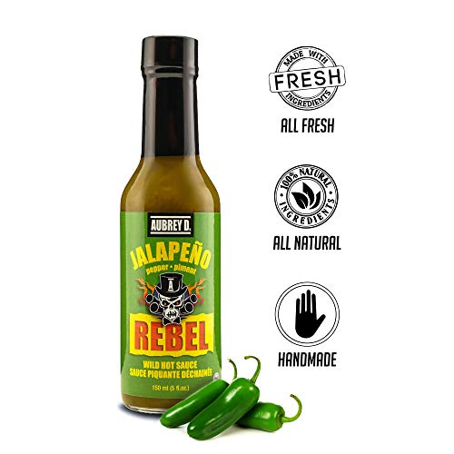 Aubrey D. Rebel Jalapeno Hot Sauce, Spicy Pepper Flavor for Meat, Fish, Chicken and Vegetables