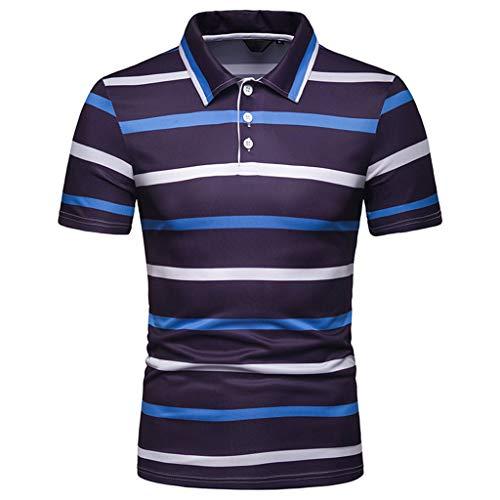 Interlock Print Cotton Turtleneck (FEDULK Mens Short Sleeve Tee Striped Print Lapel Button T-Shirt Work Lightweight Casual Blouse Shirts(Blue, X-Large))