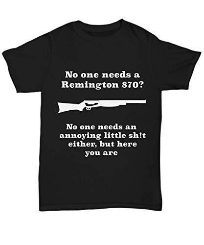(Creator's Cove Remington 870 Shotgun Hunting Gifts for Men, Funny Gun T-Shirts Black)