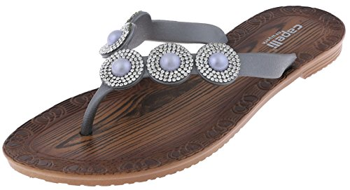 Capelli New York Ladies Flip Flops with Pearl and Rhinestone Trim and Faux Wood Sock Pewter Grey 7