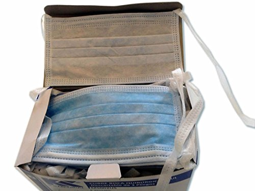 Surgical Medical Face Mask Tie On High Filtration Cap Blue Color 3 Ply NEW - 50 Masks