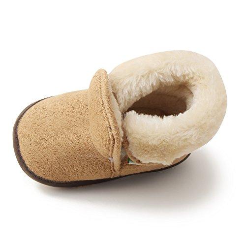 Delebao Baby Classic Soft Sole Winter Warm Snow Boots Prewalker Crib Shoes (6-9 Months, Khaki 2)
