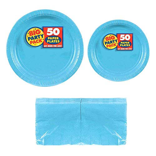 Serves 50 | Big Party Pack Caribbean Blue 50-Set (Dinner Plates, Dessert Plates, Luncheon Napkins) Party Avenue Bundle-Pack | Complete Party Pack | Baby Shower, Office parties, Birthday Parties, Festivals, Light Blue Party Theme ()