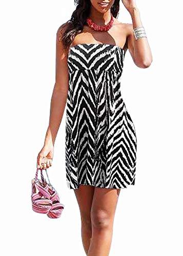 Jusfitsu Cotton Halter Neck Women Beach Dress Bandeau Casual Summer Dress Sleeveless Floral Mini Beachwear Cover Up ZebraPrint 2XL