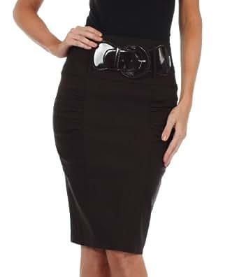 Sakkas IMShirrKneeBelti-9645 Petite High Waist Shirred Stretch Pencil Skirt with Wide Belt - Brown / S
